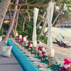 A dining table for an event at Kokomo Private Island Fiji