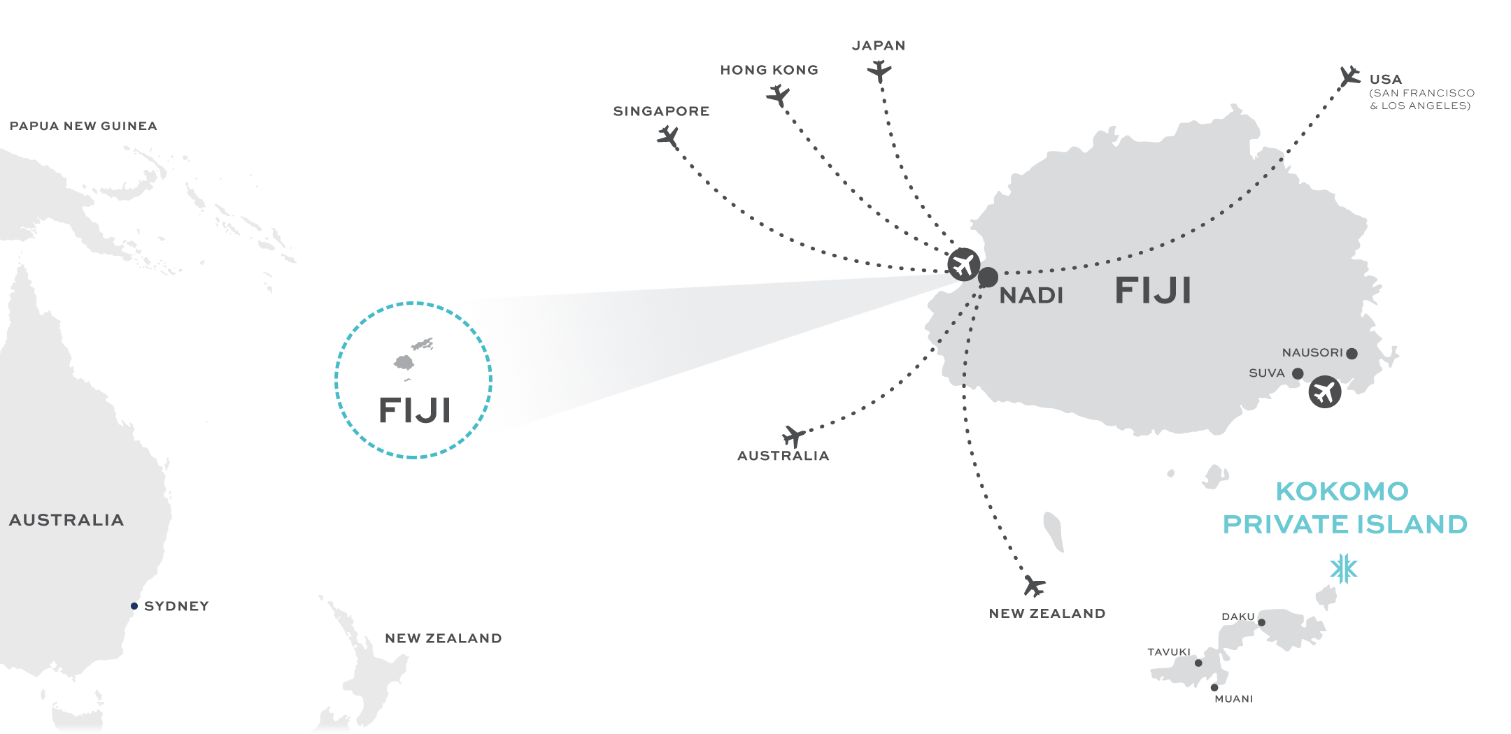 A map showing flights to Fiji from a number of major cities