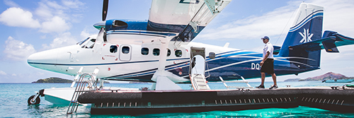 Guests arriving at Kokomo Private Island Fiji by seaplane