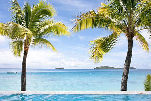 The view from the pool of a villa at Kokomo Private Island Fiji